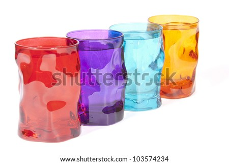 alcoholic cocktails in colored glasses - stock photo