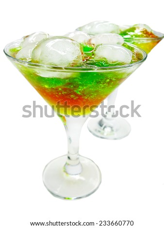 alcoholic cruchon cocktails with ice and mint - stock photo