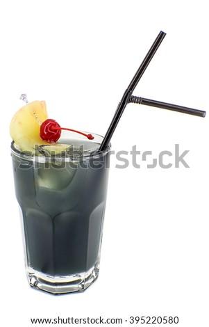 "alcoholic drink ""Crazy"": Gin, Rum, Triple Sec, Blackcurrant syrup, Blue Curacao, Lemon juice, Pineapple juice.  - stock photo"
