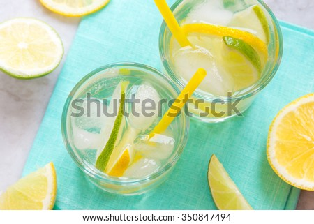 alcoholic drink (gin and tonic) with lemon, lime and ice  - stock photo