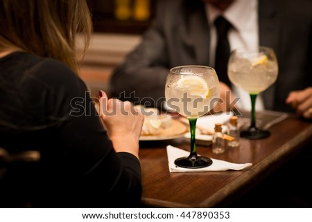 Alcoholic drink served in a bowl on a table in a restaurant