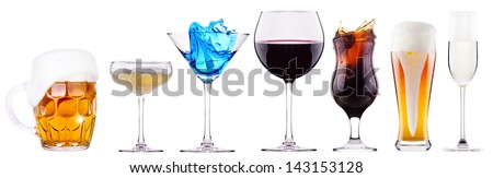 alcoholic drinks set with splash - cocktail, cola, beer, wine,champagne, juice - stock photo