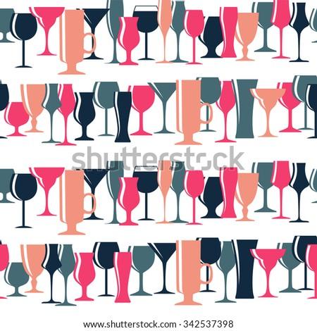 Alcoholic Glass Silhouette Seamless Pattern Background Illustration  - stock photo