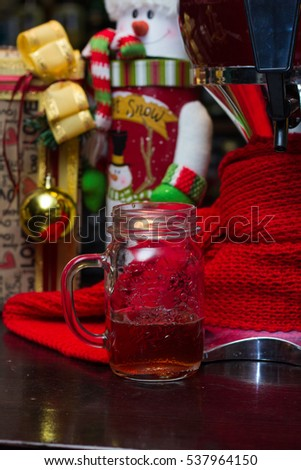 alcoholic punch at the Christmas party with the red scarf