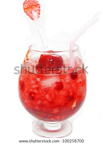 alcoholic red wine cocktail with ice and pomegranate - stock photo