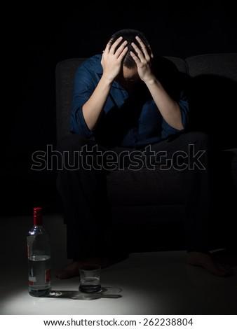 Alcoholism depression   - stock photo