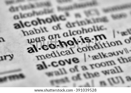 Alcoholism Word Definition Text in Dictionary Page