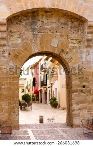 Alcudia Old Town in Majorca Mallorca Balearic island of Spain - stock photo
