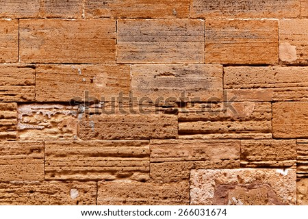 Alcudia Old Town masonry wall texture Mallorca Balearic island of Spain - stock photo