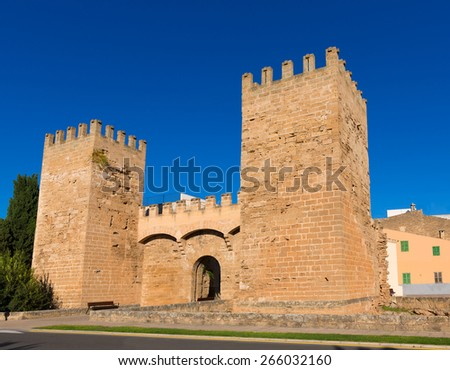 Alcudia Porta de Mallorca in Old town at Majorca Balearic islands of Spain - stock photo