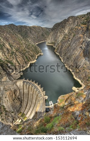 Aldeadavila dam; Salamanca, Spain. - stock photo