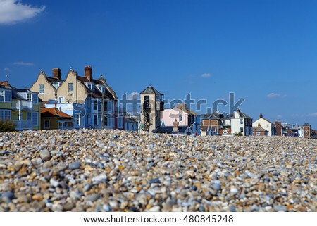 ALDEBURGH, SUFFOLK/UK - SEPTEMBER 8: Colourful traditional English seaside town of Aldeburgh in Suffolk, UK on September 8th, 2016