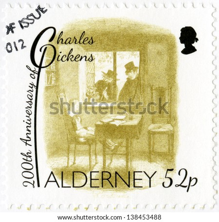 ALDERNEY - CIRCA 2012: A stamp printed in Alderney shows illustrations from Oliver Twist by George Cruikshank (1792-1878), 200th anniversary of Charles Dickens(1812-1870), circa 2012 - stock photo