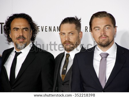 Alejandro Gonzalez Inarritu, Leonardo DiCaprio and Tom Hardy at the Los Angeles premiere of 'The Revenant' held at the TCL Chinese Theatre in Hollywood, USA on December 16, 2015. - stock photo