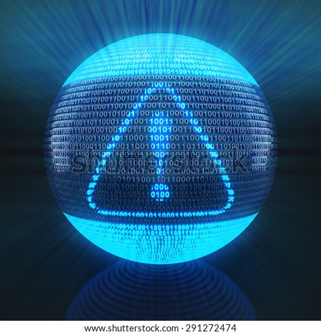Alert symbol on globe formed by binary code, 3d render - stock photo