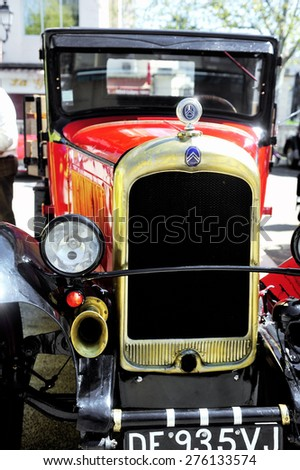 ALES, FRANCE - APRIL 11: old Citroen car from the 1920s photographed vintage car rally Town Hall Square in the town of Ales, in the Gard department, April 11, 2015. - stock photo