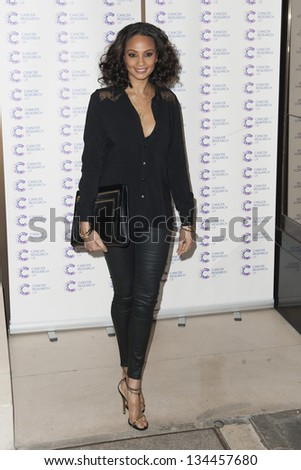 Alesha Dixon arriving at the James' Jog fundraising event for Cancer Relief, Kensington, London. 03/04/2013 Picture by: Simon Burchell - stock photo