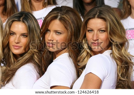 Alessandra Ambrosio with Adriana Lima and Gisele Bundchen receiving the Key to the City of Hollywood. Grauman's Chinese Theatre, Hollywood, California. November 15, 2006. - stock photo
