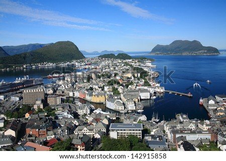 alesund is a municipality and a city in Norway in the county of M�¸re og Romsdal. It is a very important port, 236 km north of Bergen, and is renowned for its concentration of Art Nouveau - stock photo