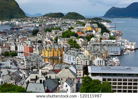 Alesund is a sea port, and is noted for its unique concentration of Art Nouveau architecture.