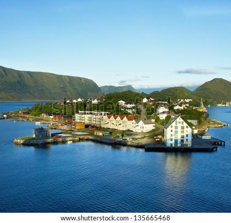 Alesund, Norway - sea view on island in Norwegian fjords. - stock photo