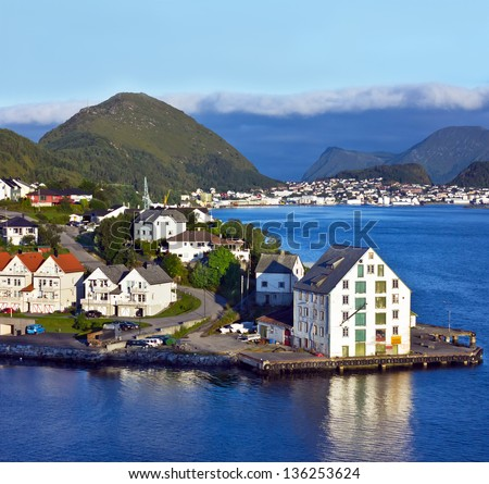 Alesund, Norway - sea view on island in Norwegian fjords. - stock photo