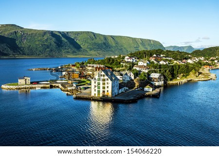Alesund - sea view on island in Norwegian fjords, Norway. - stock photo