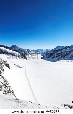 Aletsch Glacier in the Alps, Switzerland, Europe - stock photo