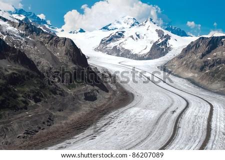 Aletsch Glacier in the European - stock photo