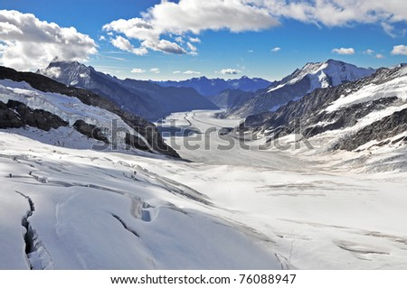 Aletsch glacier view from the Jungfraujoch, Switzerland - stock photo