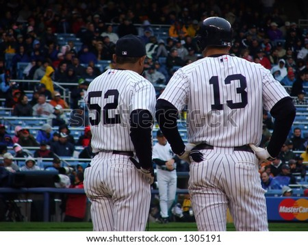 Alex Rodrigues And First Base Coach - stock photo