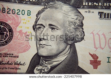 Alexander Hamilton portrait from ten dollar bill - stock photo