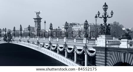 Alexander III Bridge over the River Seine in Paris. France. - stock photo