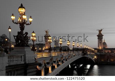 Alexander III bridge, Paris, France - stock photo