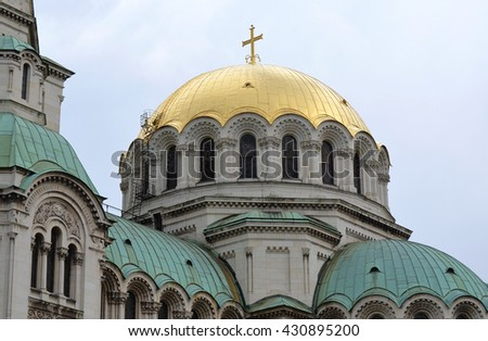 Alexander Nevski Eastern European Cathedral with Gold Dome - stock photo