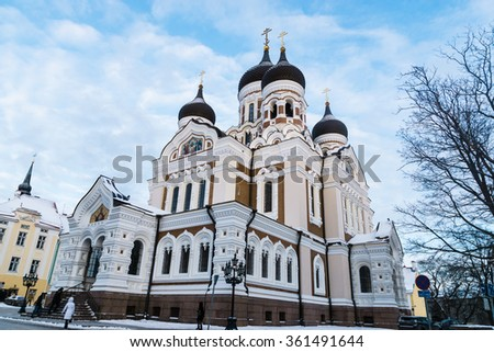 Alexander Nevsky Cathedral, an orthodox cathedral in the Tallinn Old Town, Estonia.  - stock photo