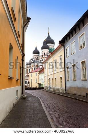 Alexander Nevsky Cathedral. Old city, Tallinn, Estonia - stock photo