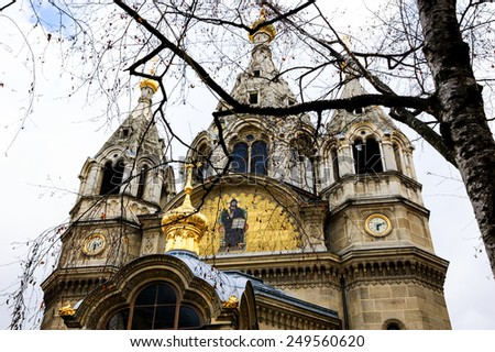 Alexander Nevsky Cathedral (Paris, France) and birch tree (one of Russia's symbols). Selective focus on the church. - stock photo