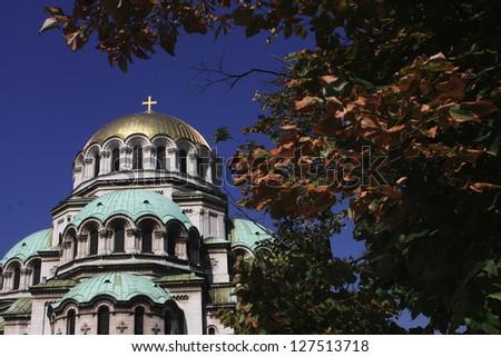 Alexander Nevsky church in Sofia,Bulgaria,with leaves frame - stock photo