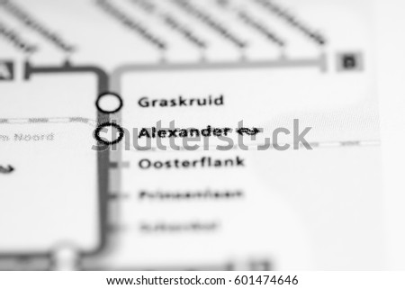 Alexander Station Rotterdam Metro Map Stock Photo 601474646