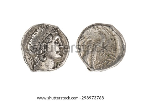 Alexander the Great Coin with clipping path This Athenian coin dates back to the last half of the fifth century BC in Greece - stock photo