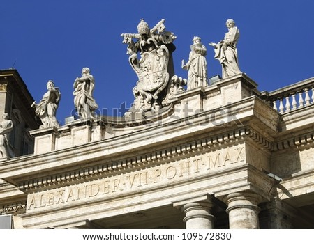 Alexander VII coat of arms. Architectural detail in St. Peter�´s Square (Vatican) showing the name of Alexander VII (the Pope who decided to build the square as we know it today).