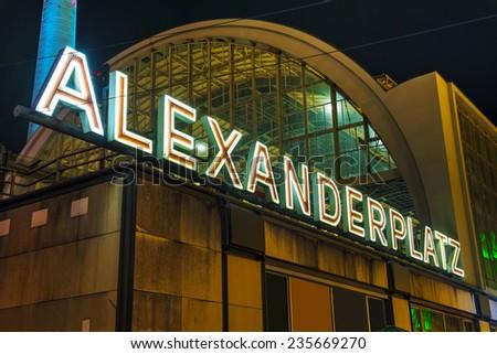 Alexanderplatz square at night in Berlin, Germany - stock photo