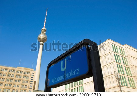 Alexanderplatz - with TV tower and underground entrance, Berlin, Germany
