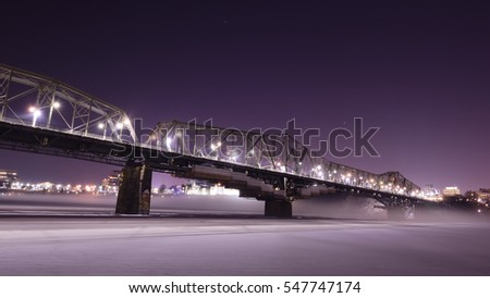 Alexandra bridge connecting Quebec and Ontario, Gatineau and Ottawa.