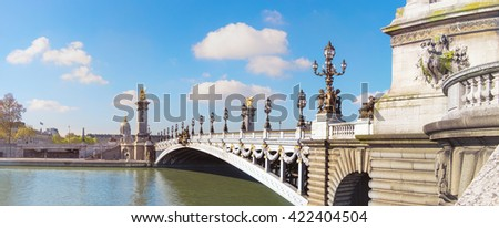 Alexandre Bridge in Paris on a bright sunny morning in Spring, toned panorama image - stock photo