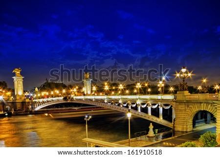Alexandre III Bridge at the night view.Paris, France - stock photo
