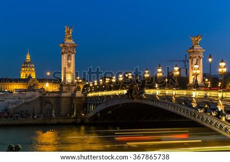 Alexandre III bridge in Paris, France - stock photo