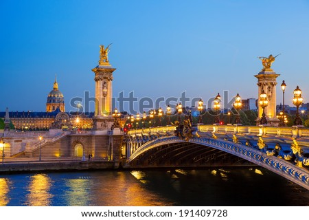 Alexandre III bridge in the evening, Paris, France - stock photo