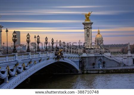 Alexandre III Bridge, Paris France - stock photo